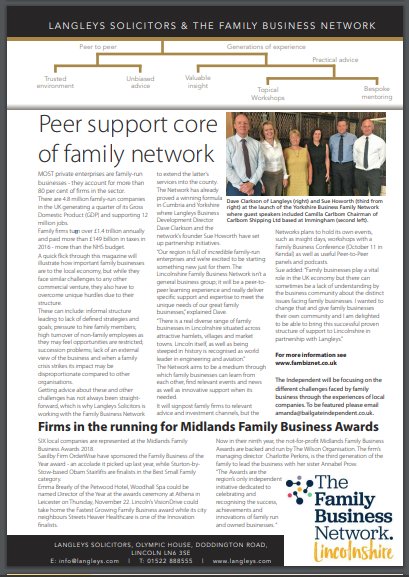 Langleys Solicitors and The Family Business Network feature within Lincolns 'Independent' magazine