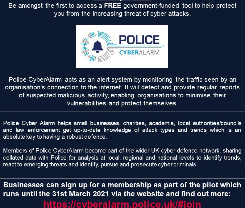 Introducing Police CyberAlarm; a new FREE cyber tool for your organisation
